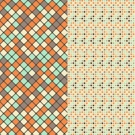 Stickers meubles rétro orange brun bleu