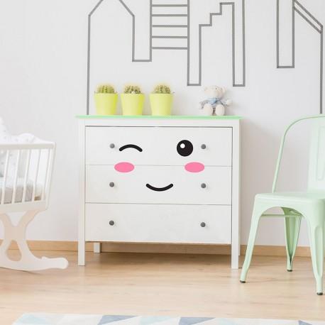 Stickers meubles pour b b yeux bouche pommettes pour for Stickers pour meuble cuisine