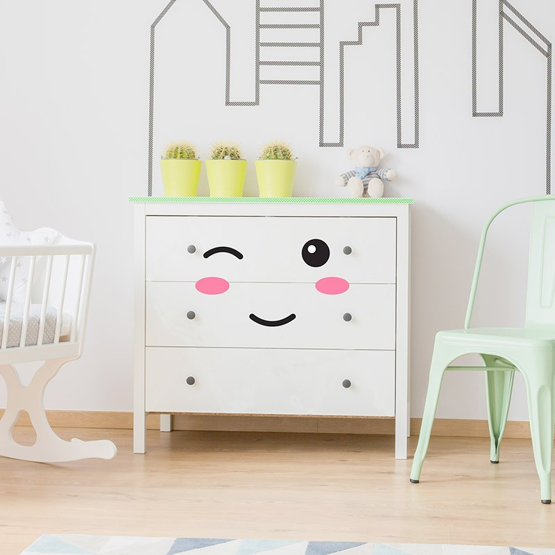 stickers meubles pour b b yeux bouche pommettes pour relooker commode. Black Bedroom Furniture Sets. Home Design Ideas