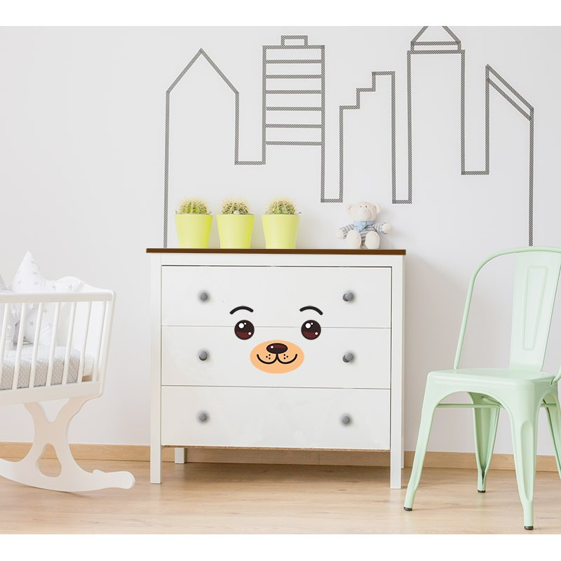 stickers de meubles pour enfants cr er une commode nounours. Black Bedroom Furniture Sets. Home Design Ideas