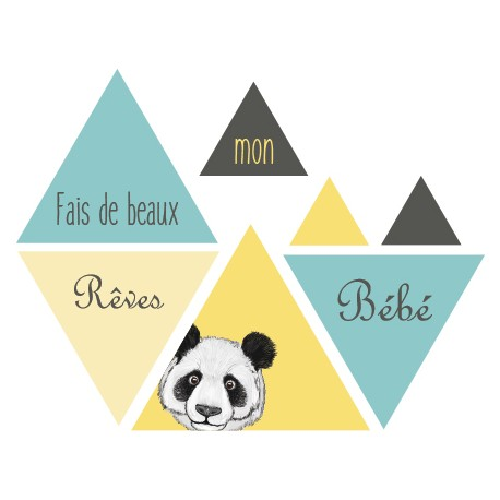 stickers scandinave chambre b b avec panda traingle jaune bleu gris. Black Bedroom Furniture Sets. Home Design Ideas