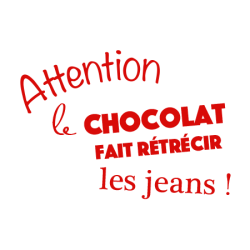 Sticker texte cuisine Attention le chocolat