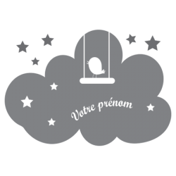 Sticker prénom nuage et oiseau