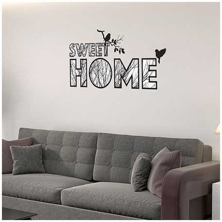 Sticker texte Sweet Home Arbre et oiseaux