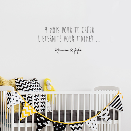 sticker texte enfant autocollant citation pour chambre de b b. Black Bedroom Furniture Sets. Home Design Ideas