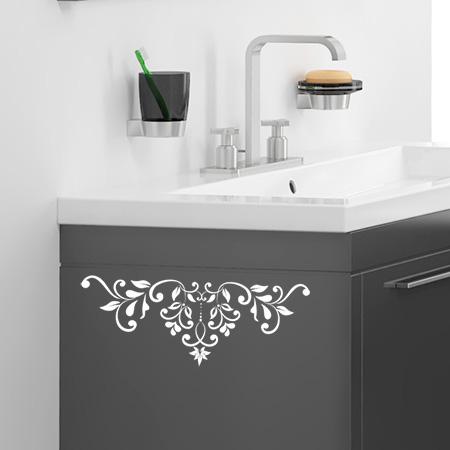 stickers muraux frises baroque petales adh sifs salle de bain meubles. Black Bedroom Furniture Sets. Home Design Ideas