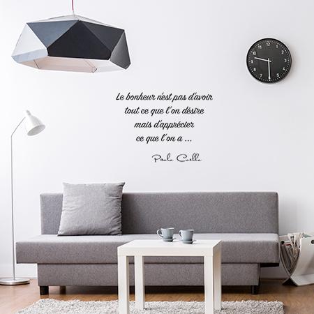 Stickers citation bonheur de paolo coelho autocollant for Autocollant mural texte