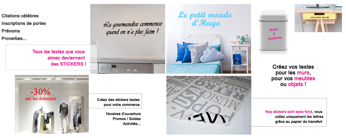 Sticker personnalis cr er votre texte stickers for Autocollant mural texte