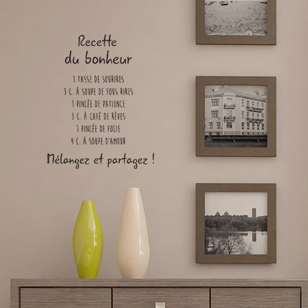 stickers texte sur le bonheur autocollant recette du bonheur d cor c bo. Black Bedroom Furniture Sets. Home Design Ideas