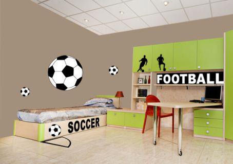 Sticker Ballon Foot Noir Et Blanc Pour Déco Sport Enfants Et