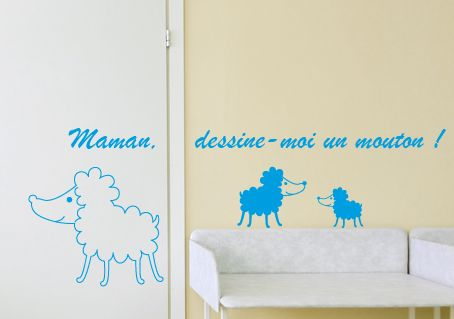 stickers mouton chambre b b et texte dessine moi un mouton d cor c bo. Black Bedroom Furniture Sets. Home Design Ideas
