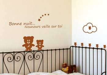 Stickers nounours stickers oursons bonne nuit - Stickers nounours chambre bebe ...