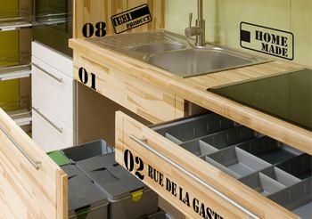 Stickers style industriel pour meubles cuisine textes et - Meuble de cuisine industriel ...