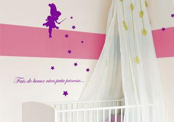 Sticker f e pour fille stickers chambre b b meubles et - Stickers etoile chambre bebe ...