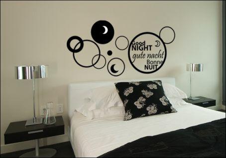 stickers chambre stickers t te de lit bonne nuit. Black Bedroom Furniture Sets. Home Design Ideas