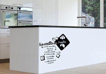 Sticker cuisine recette mojito autocollants pour cuisine d cor c bo - Stickers plan de travail cuisine ...