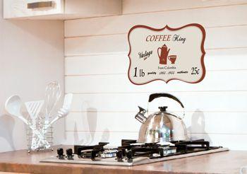 Sticker autocollant pour la cuisine style r tro plaque caf - Stickers plan de travail cuisine ...