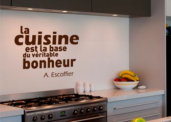 sticker mural de cuisine d co avec citation d 39 escoffier d cor c bo. Black Bedroom Furniture Sets. Home Design Ideas