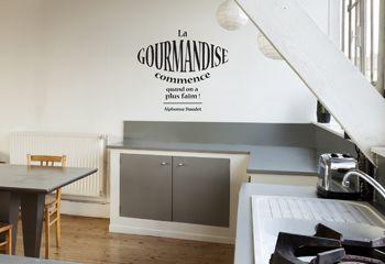 Autocollant mural pour cuisine citation texte gourmandise for Stickers phrase cuisine