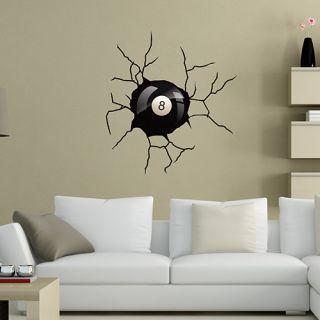 sticker boule de billard pour mur effet trompe l 39 oeil d cor c bo. Black Bedroom Furniture Sets. Home Design Ideas