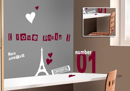stickers en kit pour ambiance chambre fille love paris et tour eiffel. Black Bedroom Furniture Sets. Home Design Ideas