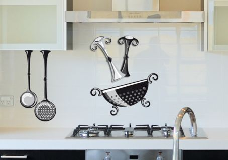 sticker saliere en noir blanc et gris pour cuisine murs et cr dences. Black Bedroom Furniture Sets. Home Design Ideas