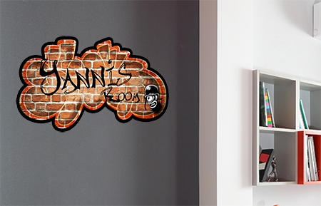 Stickers Mural Tag Sur Briques Rouge 224 Personnaliser