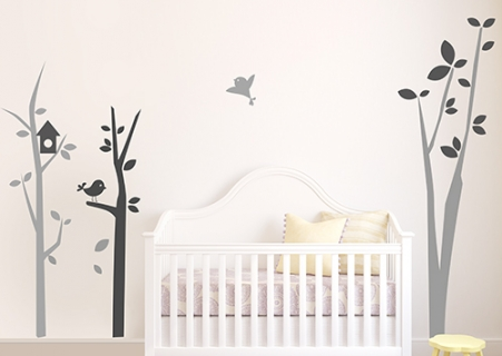 Stickers arbre chambre bébé avec oiseaux - Autocollants pour enfants