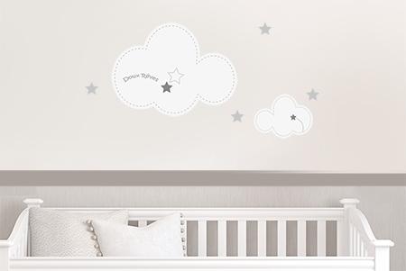 Stickers naissance nuages coloris gris clair et gris fonc par d cor c bo - Stickers chambre bebe nuage ...