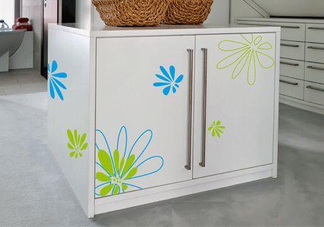 stickers fleurs g antes pour relooker meubles salle de bain. Black Bedroom Furniture Sets. Home Design Ideas
