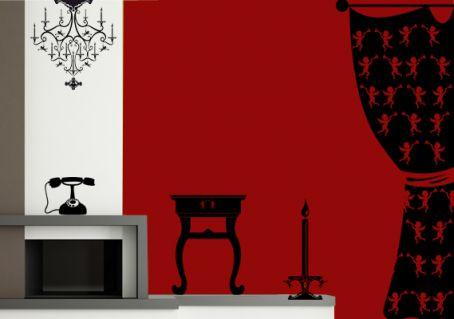 sticker rideau baroque tringles avec des anges par d cor c bo. Black Bedroom Furniture Sets. Home Design Ideas