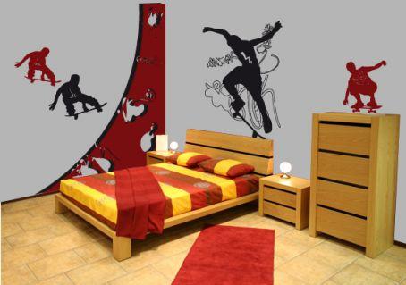 sticker skate 5 d coration murale chambre ado. Black Bedroom Furniture Sets. Home Design Ideas
