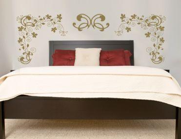 sticker t te de lit fleurs et ornements pour chambre parentale. Black Bedroom Furniture Sets. Home Design Ideas