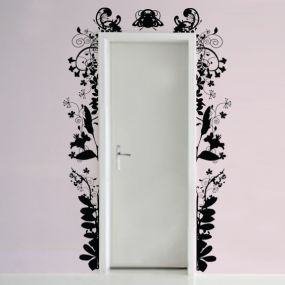 stickers muraux fleurs pour chambre tour de porte d cor c bo. Black Bedroom Furniture Sets. Home Design Ideas