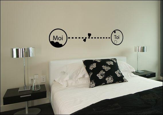 sticker mural toi et moi pour chambre avec coeurs et nuages. Black Bedroom Furniture Sets. Home Design Ideas