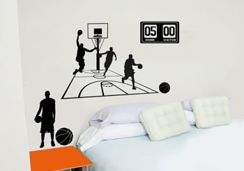 stickers basketball joueurs et paniers de basket. Black Bedroom Furniture Sets. Home Design Ideas
